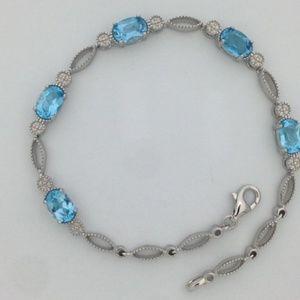 Jewelry - Natural Blue Topaz Bracelet 925 Sterling Silver